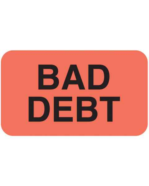 "BAD DEBT Label - Size 1 1/2""W x 7/8""H"