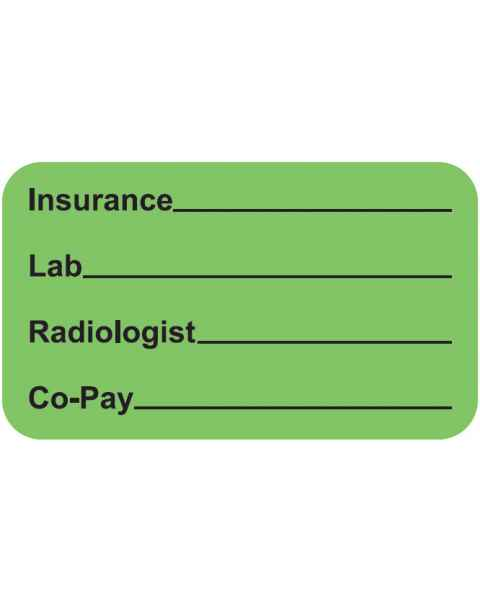 """INSURANCE LAB RADIOLOGIST CO-PAY Label - Size 1 1/2""""W x 7/8""""H"""