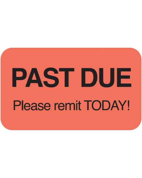 "PAST DUE PLEASE REMIT TODAY Label - Size 1 1/2""W x 7/8""H"