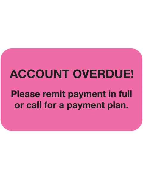 "ACCOUNT OVERDUE Label - Size 1 1/2""W x 7/8""H"