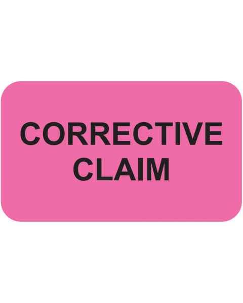 "CORRECTIVE CLAIM Label - Size 1 1/2""W x 7/8""H"