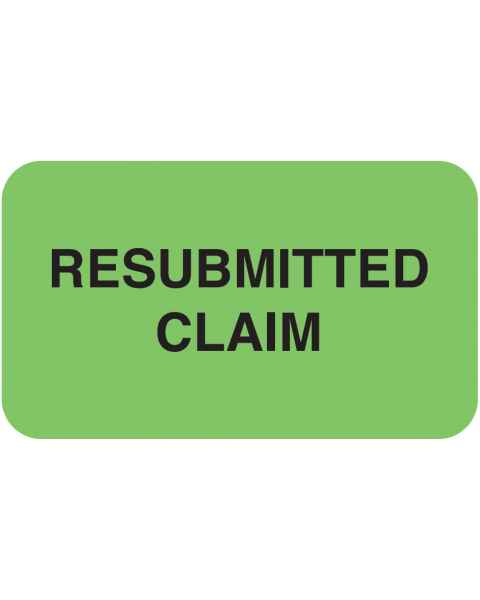 """RESUBMITTED CLAIM Label - Size 1 1/2""""W x 7/8""""H"""