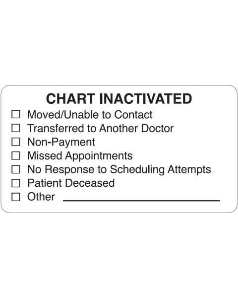 "CHART INACTIVATED Label - Size 3 1/4""W x 1 3/4""H"