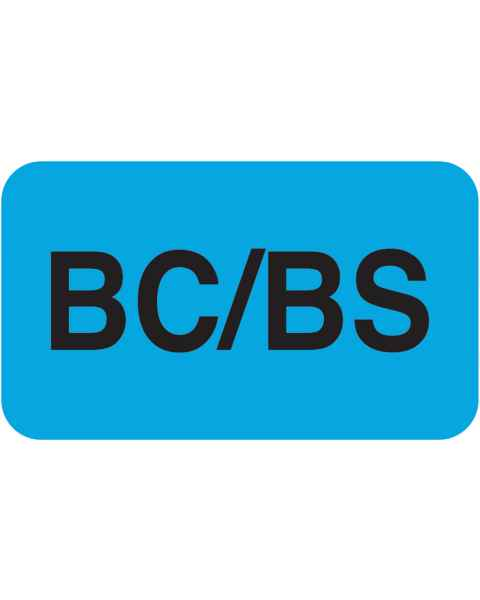 "BC/BS Label - Size 1 1/2""W x 7/8""H"