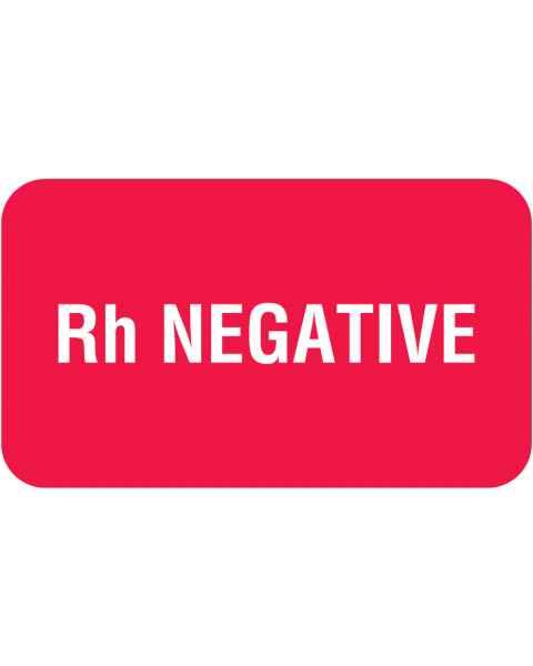 "Rh NEGATIVE Label - Size 1 1/2""W x 7/8""H"