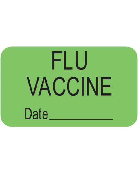 "FLU VACCINE Label - Size 1 1/2""W x 7/8""H"