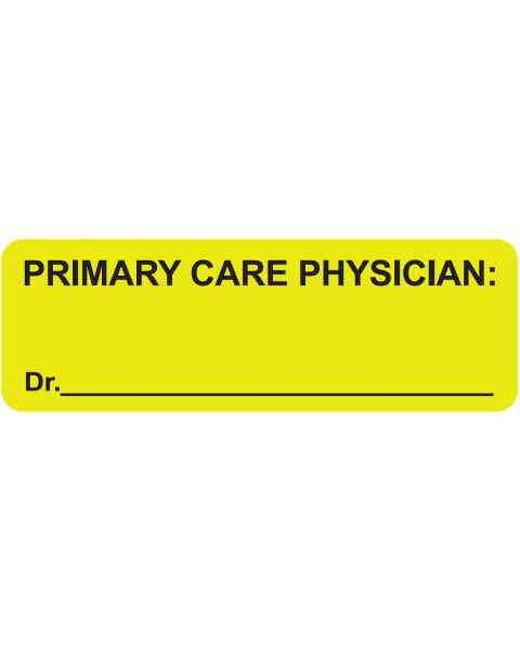 "PRIMARY CARE PHYSICIAN Label - Size 3""W x 1""H"