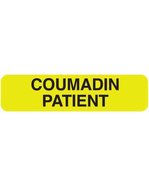"""COUMADIN PATIENT Label - Size 1 1/4""""W x 5/16""""H"""