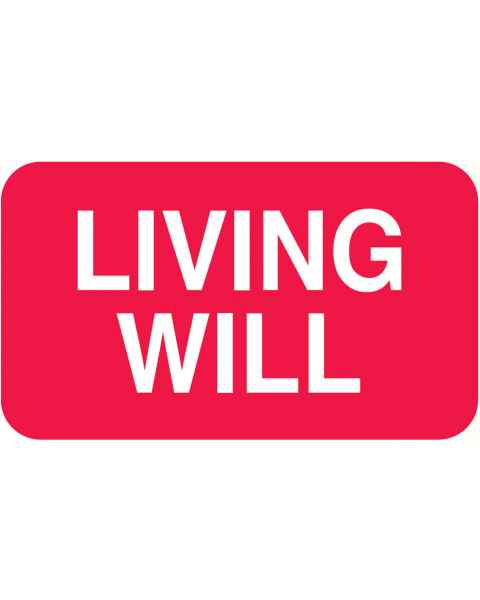 "LIVING WILL Label - Size 1 1/2""W x 7/8""H"