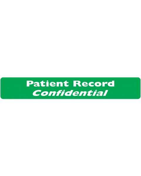 "PATIENT RECORD CONFIDENTIAL Label - Size 6 1/2""W x 1""H"