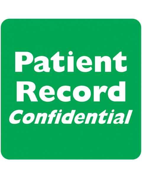 "PATIENT RECORD CONFIDENTIAL Label - Size 2""W x 2""H"