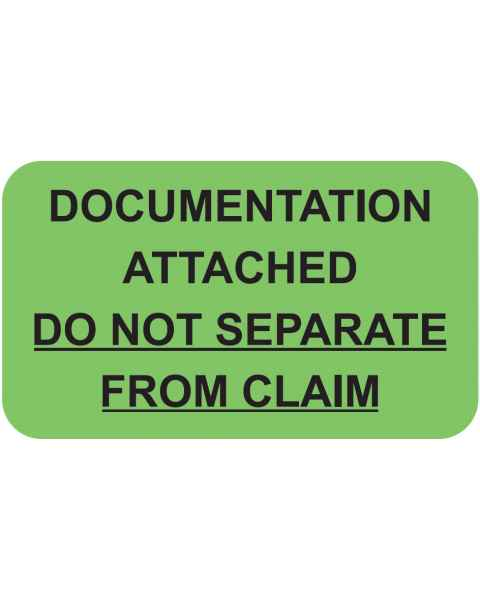 "DOCUMENTATION ATTACHED Label - Size 1 1/2""W x 7/8""H"