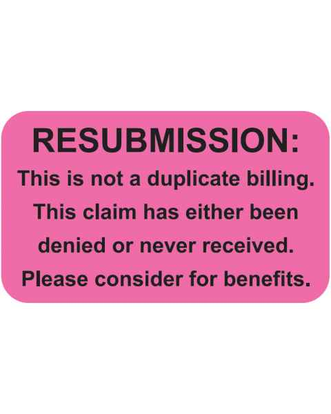 "RESUBMISSION Label - Size 1 1/2""W x 7/8""H"