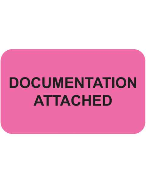 "DOCUMENTATION ATTACHED Label - Size 1 1/2""W x 7/8""H"