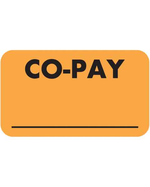 """CO-PAY Label - Size 1 1/2""""W x 7/8""""H"""
