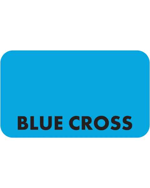 "BLUE CROSS Label - Size 1 1/2""W x 7/8""H"