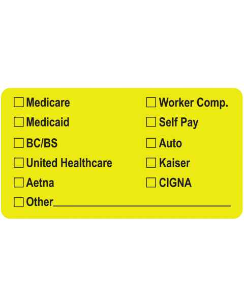 """MEDICARE MEDICAID BC/BS Label - Size 3 1/4""""W x 1 3/4""""H"""