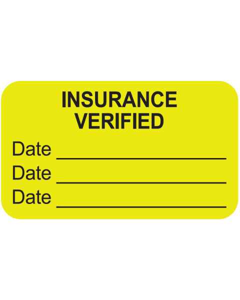 "INSURANCE VERIFIED Label - Size 1 1/2""W x 7/8""H"