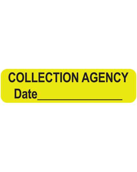 "COLLECTION AGENCY Label - Size 1 1/4""W x 5/16""H"