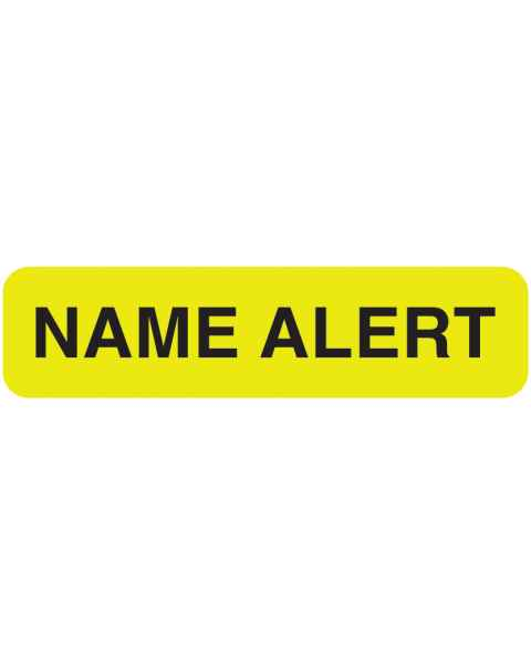 "NAME ALERT Label - Size 1 1/4""W x 5/16""H - Fluorescent Chartreuse"