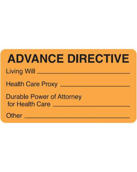"ADVANCE DIRECTIVE Label - Size 3 1/4""W x 1 3/4""H - Fluorescent Orange"