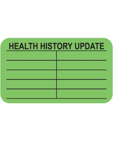 "HEALTH HISTORY UPDATE Label - Size 1 1/2""W x 7/8""H"