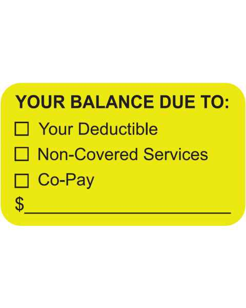 "YOUR BALANCE DUE TO Label - Size 1 1/2""W x 7/8""H"