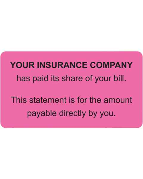 "YOUR INSURANCE COMPANY Label - Size 3 1/4""W x 1 3/4""H"