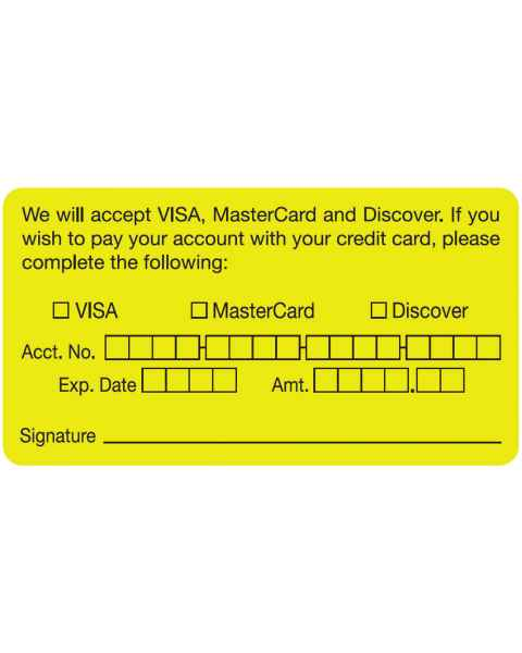 "WE WILL ACCEPT VISA MASTERCARD DISCOVER CARD Label - Size 3 1/4""W x 1 3/4""H"
