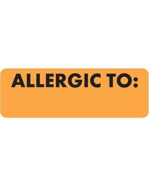 "ALLERGIC TO Label - Size 3""W x 1""H - Fluorescent Orange"