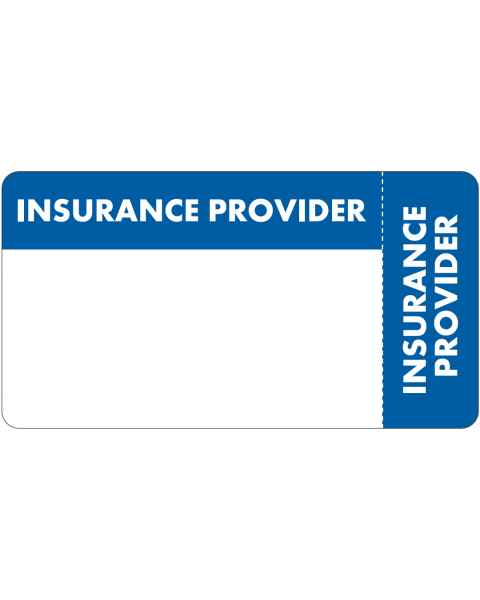 "INSURANCE PROVIDER Label - Size 3 1/4""W x 1 3/4""H - Wrap Around Style"