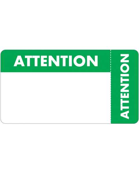 "ATTENTION Label - Size 3 1/4""W x 1 3/4""H - Wrap Around Style"