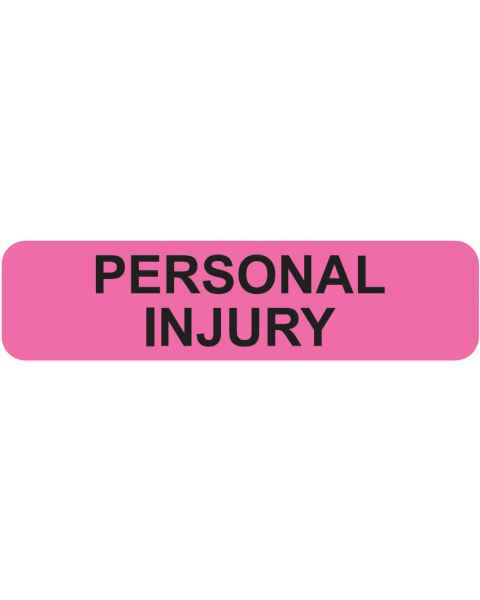 "PERSONAL INJURY Label - Size 1 1/4""W x 5/16""H"