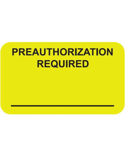 """PREAUTHORIZATION REQUIRED Label - Size 1 1/2""""W x 7/8""""H"""