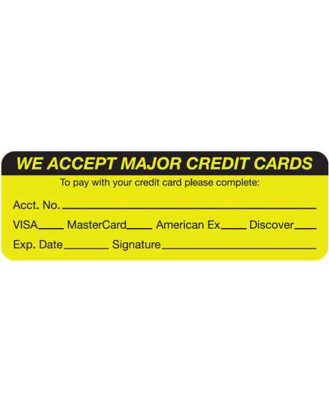 "WE ACCEPT MAJOR CREDIT CARDS Label - Size 3""W x 1""H"
