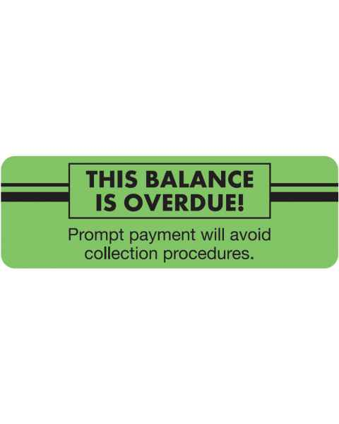 """THIS BALANCE IS OVERDUE Label - Size 3""""W x 1""""H"""