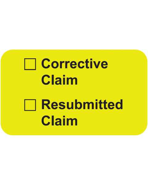 """CORRECTIVE CLAIM RESUBMITTED CLAIM Label - Size 1 1/2""""W x 7/8""""H"""