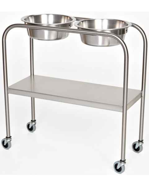 Stainless Steel Double Bowl Ring Stand with Lower Shelf