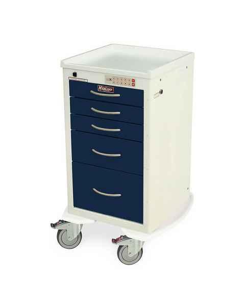 Harloff MDS1824EKC05 M-Series Mini Width Short Anesthesia Procedure Cart Five Drawers with Electronic Keypad Lock