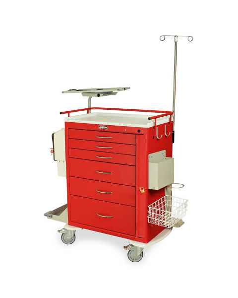 Harloff M-Series Standard Width Tall Emergency Crash Cart Six Drawers with Breakaway Lock, MD30-EMG3 Super Stat Package