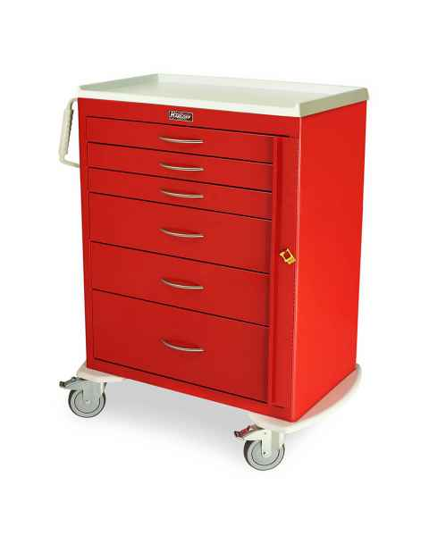 Harloff M-Series Standard Width Tall Emergency Crash Cart Six Drawers with Breakaway Lock