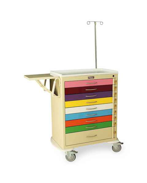 Harloff MDS3030B09PED-EMG M-Series Tall Pediatric Emergency Cart, Standard Width, Nine Drawer with Individual Breakaway Locks, EMG Accessory Package