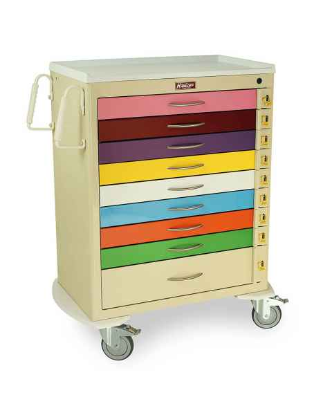 Harloff MDS3030B09PED M-Series Tall Pediatric Emergency Cart, Standard Width, Nine-Drawers with Individual Breakaway Locks