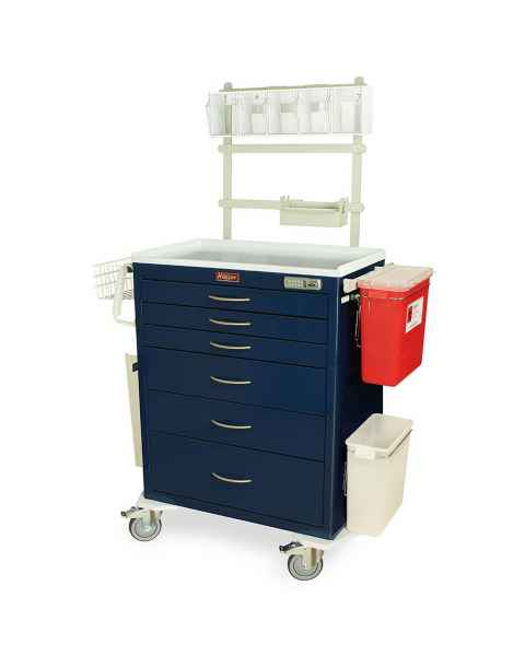 Harloff MDS3030E06-ANS3 M-Series Standard Width Tall Anesthesia Cart Six Drawers with Basic Electronic Pushbutton Lock, MD30-ANS3 Package