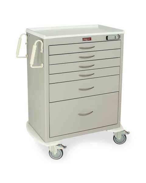 Harloff M-Series Standard Width Tall Procedure Cart Six Drawers with Basic Electronic Pushbutton Lock