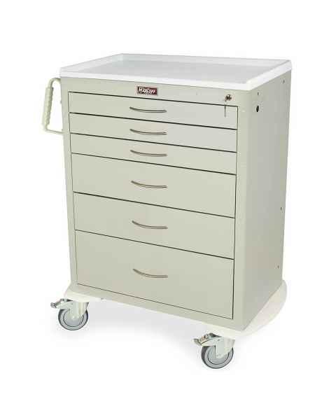 Harloff M-Series Standard Width Tall Anesthesia Cart Six Drawers with Key Lock