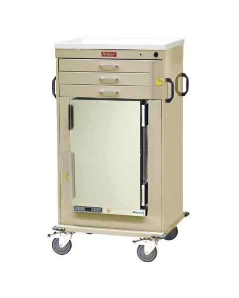 Harloff Model MH4300B Malignant Hyperthermia Cart with 1.8 Cubic Feet Follett Refrigerator, Three Drawers, Breakaway Lock
