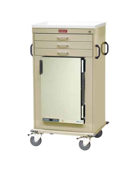 Harloff Model MH4300K Malignant Hyperthermia Cart with 1.8 Cubic Feet Follett Refrigerator, Three Drawers, Key Lock