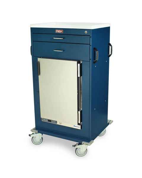 "Harloff Model MH4302K Malignant Hyperthermia Cart with 1.8 Cubic Feet Follett Refrigerator, Two Drawers (One 3"", One 6""), Key Lock"