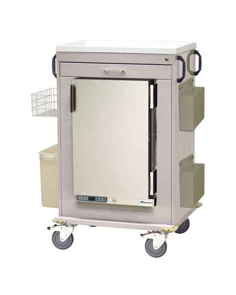 Harloff Malignant Hyperthermia Cart with 1.8 Cubic Feet Follett Refrigerator, One Drawer, Key Lock & Accessories